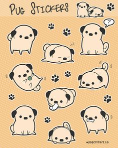 Pug Stickers by =Kami-Hoshi on deviantART Cute Animal Drawings, Animal Sketches, Kawaii Drawings, Cute Drawings, Cute Dog Drawing, Husky Drawing, Diy Kawaii, Kawaii Art, Kawaii Doodles