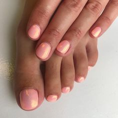 "Peachy Mermaid gel fingers and toes. Gelish ""all about the pout"" with mermaid glitter"