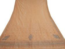 Vintage India Saree Fabric Women Wrap Embroidered Sarong Soie Deco Peach Sari