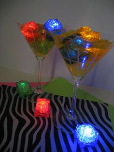 80's Theme Centerpieces Using Jell-0 and light cubes! | OHMY-CREATIVE.COM