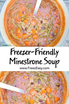Freezer Friendly vegetarian recipe for Minestrone Soup that is full of veggie goodness and perfect for fall!   5DollarDinners.com
