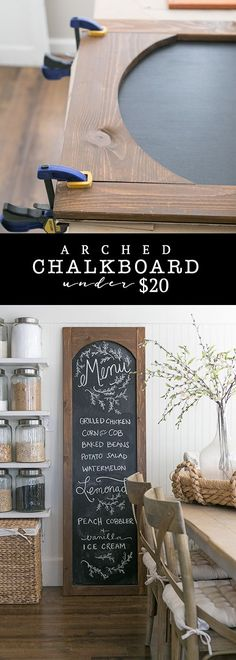 Easy 6 foot DIY arched chalkboard for under $20! Perfect for your kitchen, command center, office, or entryway. Woodworking Tools, Entryway Tables, Names, Hallway Tables