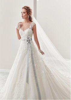 Buy discount Attractive Tulle & Satin Bateau Neckline A-Line Wedding Dresses With Beaded Lace Appliques at Dressilyme.com