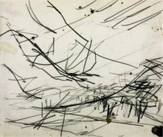 frank auerbach - working drawing for `primrose hill', 1968, chalk and graphite on paper.