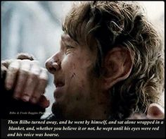 This part killed me... In the book and the movie... #OneLastTime << Bilbo crying over Thorin's death was one of the saddest moments of my life! I cried when reading that part in the book.