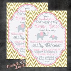 TICKLED PINK COLLECTION: Baby Shower Invitation, elephants, gold and pink, chevron, baby girl, by PrintableLovelies on Etsy