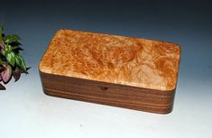 Handmade Box With Tray-Maple Burl on Walnut Wood Jewelry Box Treasure Box Keepsake Box Wooden Jewelry Box Handmade Stash Box With Tray by BurlWoodBox Stash Jars, Barrel Hinges, Maple Burl, Large Tray, Wooden Jewelry Boxes, Treasure Boxes, Wood Boxes, Keepsake Boxes, Walnut Wood