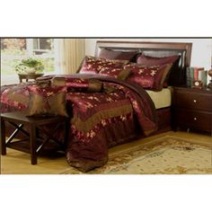 @Overstock - This luxurious ensemble in shades of burgundy and tan will provide a lavish look to your bedroom decor. This set comes with coordinated shams, Euro shams, and accent pillows.http://www.overstock.com/Bedding-Bath/Osaka-8-piece-Comforter-Set/5880546/product.html?CID=214117 $45.99