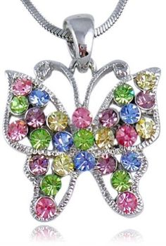 Pretty Multicolor Pink, Blue, Green, Purple Crystal Butterfly Silver Tone Necklace for Girls and Teens Necklaces by Glamour Girl Gifts http://www.amazon.com/dp/B0059HJK8W/ref=cm_sw_r_pi_dp_ziDTtb17VSMNFP2A
