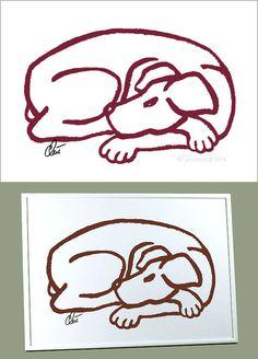 JACQUELINE DITT - Dog Red A3 handsigniert ltd. numm.Grafik mit Alu Rahmen Hund