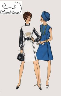 Vintage 1960 Womens MadMen Dress or Jumper Sewing Pattern Vogue 7542 60s Pattern Size 12 Bust 34 by sandritocat on Etsy