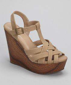 Take a look at this Taupe Wesley Wedge Sandal by Bamboo on #zulily today!