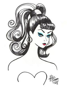 I started this quick pen & ink drawing of Vintage Barbie
