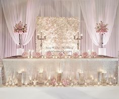 Unique bride and groom& table in delicate rosé with sequin tablecloth and wonderful . Unique bride and groom in delicate rosé with sequin tablecloth and beautiful flower wall! Bridal Table, Wedding Table Centerpieces, Ceremony Decorations, Wedding Reception Decorations Elegant, Centerpiece Ideas, Glamorous Wedding, Luxury Wedding, Dream Wedding, Wedding Day
