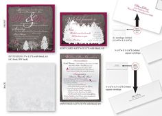 Design Specs / Dimensions for custom Wedding Invitation package. View what size document to use (keep live area from trim), envelope sizes to purchase and where to print return address. Excellent proof sheet to send to printer along with your order. Wedding Invitation Packages, Custom Wedding Invitations, Square Envelopes, Envelope Sizes, Marketing Professional, Return Address, Specs, Creative Design, Rsvp