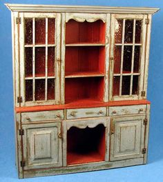Barbara Vajnar, Bubba's Country Cupboards, IGMA artisan - housekeeper's cupboard, finished with blue milk paint; selling on SP Miniatures for $395