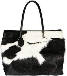 black and white hair on hide leather couch | Genuine cow leather with hair on bag CHA123 Black / White. Genuine cow ...