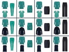 A Four by four Capsule Wardrobe: teal and navy - The Vivienne Files