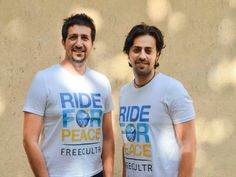 Music sensation brothers Salim - Sulaiman poses for De Paix Yatra and peace! | T-shirts by FREECULTR | GIFT self/others same t-shirt with Sulaiman Merchant and Sourav Dutta in Mumbai, Maharashtra.