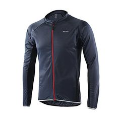 ARSUXEO Outdoor Sports Men's Cycling Jersey Long Sleeves Bike Bicycle MTB Shirts 6022 Gray Size Large * Continue to the product at the image link.