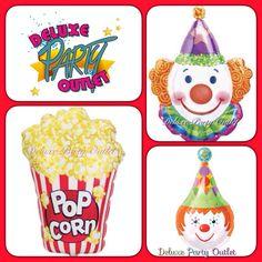 Balloons- pop corn, payaso, circo... SuperShape, Mylar, Jr. Shape