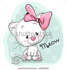 Cute Cartoon White kitten on a blue background