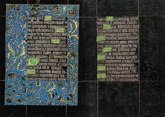 Penitential Psalms and Litany (continuation) | Fols. 82v–83r | The Black Hours | artist unknown | 1480 | Belgium; Bruges | Morgan Library & Museum | MS M.493 | This Book of Hours, referred to as the Black Hours, is one of a small handful of manuscripts written and illuminated on vellum that is stained or painted black.