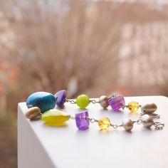 Turquoise amethyst jelly peridot heart bracelet by sianykitty, $39.00