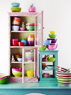 Love the vintage cabinets! ...and the Melamine Bowls from RICE