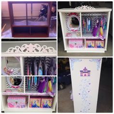 Re-purposed entertainment center into a dress up station. Added and hand painted trim. Airbrushed and used stencils for the other paint :)