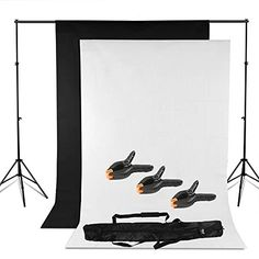 BPS Adjustable Heavy duty Backdrop Support Stand Kit -1.6 x 3m Black White Backdrop screen + Background Support System + Carry bag- Photo Studio Photography Set- Photo Studio Background Stand Support Kit