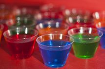 Basic recipe for jelly shots. Choose your flavor, liquor, and mold, layer if you like, but most of all, have fun!
