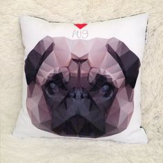 Decorative Pillow, cushion I love Pug Mops Carlin by PSIAKREW on Etsy