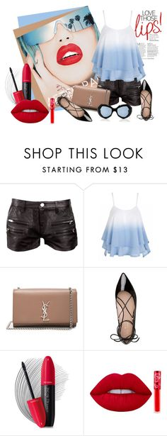 """czerwone usta"" by margo47 ❤ liked on Polyvore featuring Rupaul, IRO, Yves Saint Laurent, Kate Spade, Revlon, Lime Crime and Marni"