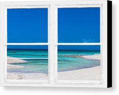 #Tropical blue ocean window view canvas #art print - #insognaGallery