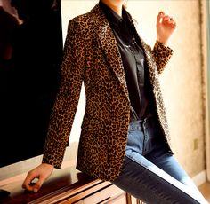 Women's Leopard Printed Blazer