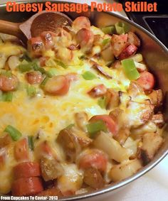 Cheesy Sausage Potato Skillet- Easiest. Dinner. Ever. Trust me. Ooey gooey cheese, smoked sausage, taters and general yumminess here. All in under 30 minutes. http://www.fromcupcakestocaviar.com/2013/08/27/cheesy-sausage-potato-skillet/