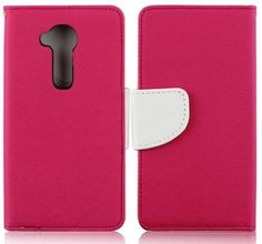 myLife Ruby Pink + Classic White {Simple Design} Faux Leather (Multipurpose - Card, Cash and ID Holder + Magnetic Closing) Folio Slimfold Wa...