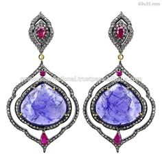 14k Yellow Gold Slice Diamond Blue Sapphire Gemstone Hook Earrings ...