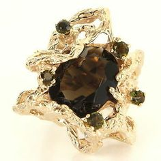 Vintage 14 Karat Yellow Gold Smoky Topaz Quartz Green Tourmaline Nugget Ring                               $995