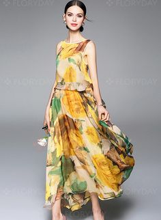 Vestidos+de +-+$116.25+-+Seda+Floral+Sem+magas+Longo+Informal+Vestidos+de +(1955099104)