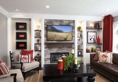Stylish Transitional Family Room Before and After Robeson Design