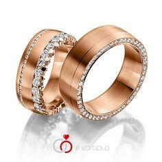 1 Paar Trauringe - Legierung: Rotgold 585/- Breite: 8,00 - Höhe: 2,50 - Steinbesatz: 73 Brillanten zus. 1,69 ct. tw, si (Ring 1 mit Steinbesatz, Ring 2 ohne Steinbesatz)