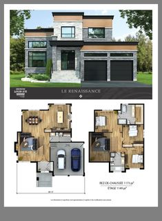 New houses with flat roofs for sale – Construction Louis-Seize - Home & DIY Modern House Floor Plans, Sims House Plans, House Layout Plans, Contemporary House Plans, Dream House Plans, House Layouts, Small House Plans, Sims 4 House Design, Modern House Design