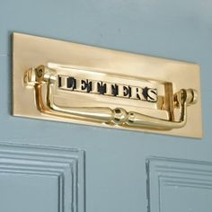 Quality solid brass letterbox with built in door knocker. A great choice if you have a heavily panelled door or glass panelled door as it combines the door knocker and letterplate all in one. The embossed 'Letters' is a beautiful traditional detail. Glass Panel Door, Panel Doors, Glass Panels, Front Door Letters, Terrace House Exterior, Outside Flooring, Front Door Lighting, Traditional Front Doors, Letters