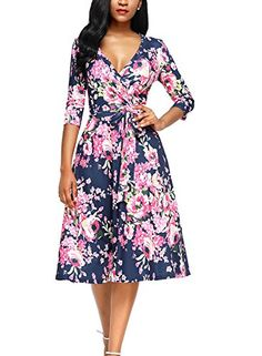 a6360e8454c3e Alvaq Women Eleant V Neck Floral Print Midi Dresses Ladies A Line Knee  Length Maternity Swing