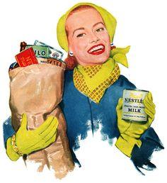 Grocery Shopping Mom ~ 1953 Nestlé's ad