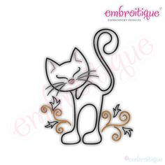 Curly Cat Redwork Outline - Instant Email Delivery Download Machine embroidery…