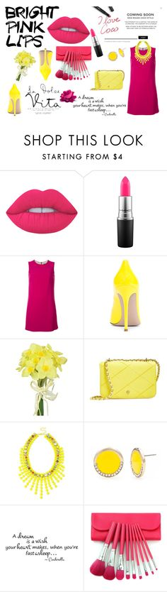 """Bright Pink Lipstick"" by l-u-natic ❤ liked on Polyvore featuring beauty, Lime Crime, MAC Cosmetics, Dolce&Gabbana, Gianvito Rossi, Pavilion Broadway, Tory Burch, INC International Concepts and New Directions"