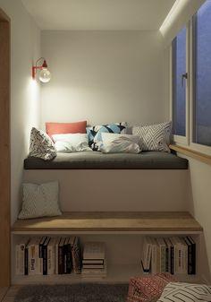 Home Designing — (via Bookshelf Cushions Steps) …